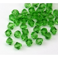 Peridot Czech Crystal Beads, 6mm Faceted Bicone, Pack of 20