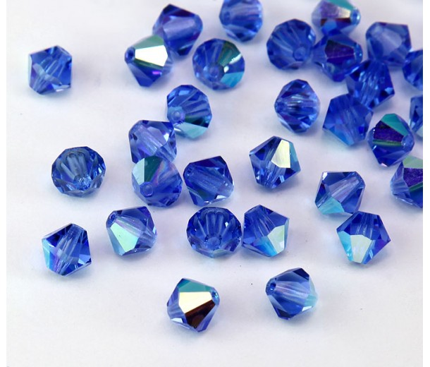 Sapphire AB Czech Crystal Beads, 6mm Faceted Bicone