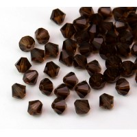Smoked Topaz Czech Crystal Beads, 6mm Faceted Bicone