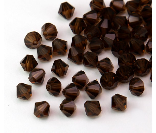 Smoked Topaz Czech Crystal Beads, 6mm Faceted Bicone, Pack of 20