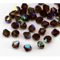 Smoked Topaz AB Czech Crystal Beads, 6mm Faceted Bicone, Pack of 20
