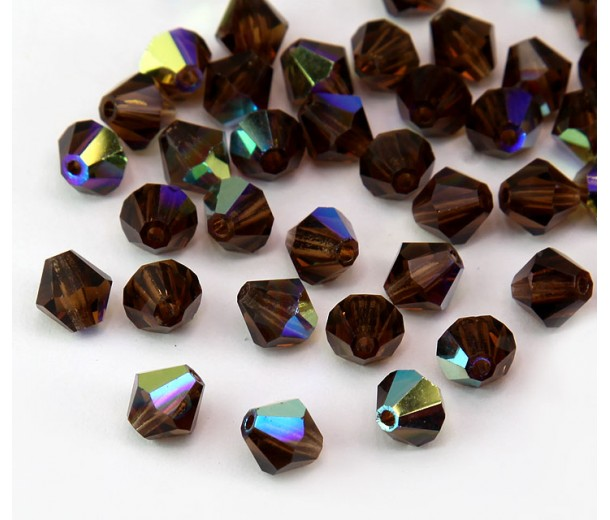 Smoked Topaz AB Czech Crystal Beads, 6mm Faceted Bicone