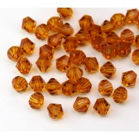 Topaz Czech Crystal Beads, 6mm Faceted Bicone