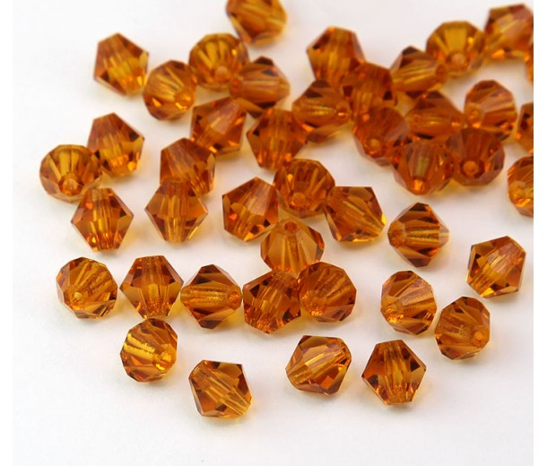 Topaz Czech Crystal Beads, 6mm Faceted Bicone, Pack of 20