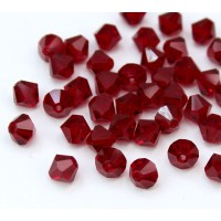 Dark Red Czech Crystal Beads, 6mm Faceted Bicone, Pack of 20