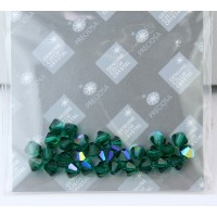 Emerald AB Czech Crystal Beads by Preciosa, 4mm Faceted Bicone, Pack of 30