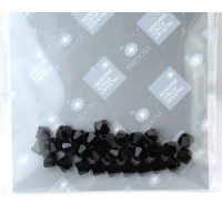 Jet Black Czech Crystal Beads by Preciosa, 4mm Faceted Bicone, Pack of 30