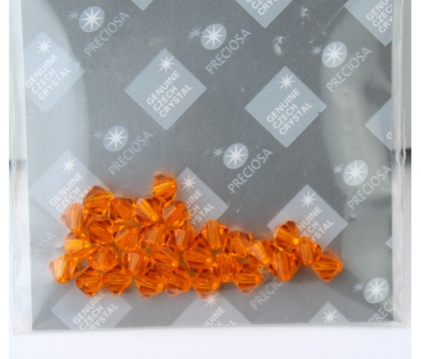 Sun Orange Czech Crystal Beads by Preciosa, 4mm Faceted Bicone, Pack of 30