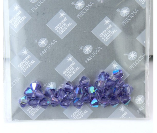 Tanzanite AB Czech Crystal Beads by Preciosa, 4mm Faceted Bicone, Pack of 30