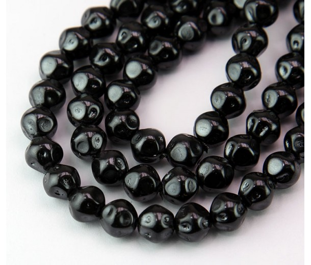 Black Pearl Czech Glass Beads, 8mm Baroque Round