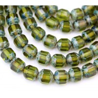 Olivine Picasso Czech Glass Beads, 10mm Renaissance
