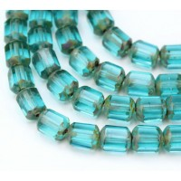Aqua Picasso Czech Glass Beads, 10mm Renaissance, 7 Inch Strand