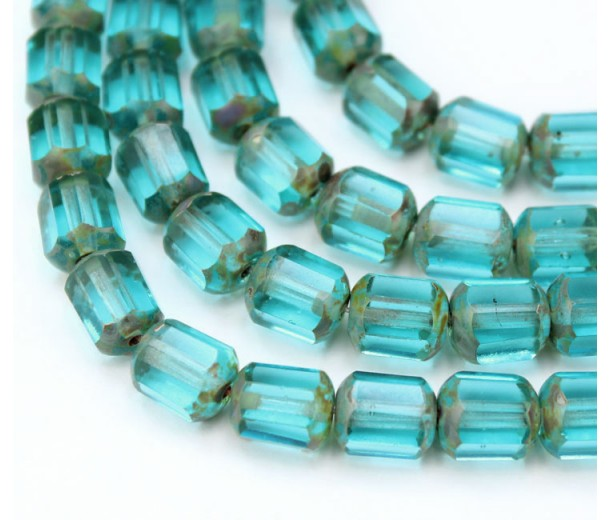 Aqua Picasso Czech Glass Beads, 10mm Renaissance, Pack of 20