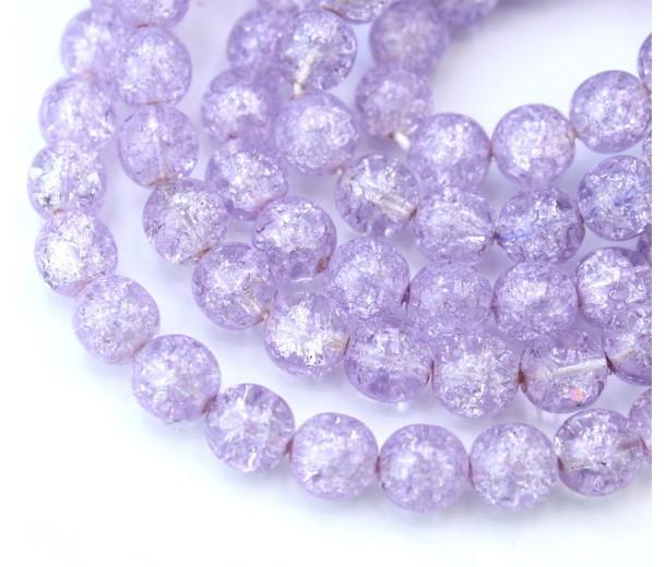 Crackle Light Purple Czech Glass Beads, 8mm Round