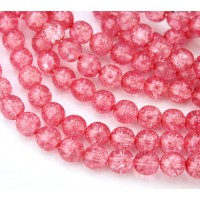 Crackle Berry Pink Czech Glass Beads, 8mm Round