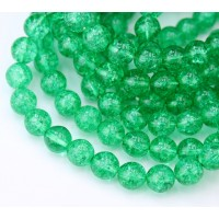 Crackle Christmas Green Czech Glass Beads, 8mm Round
