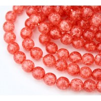 Crackle Berry Red Czech Glass Beads, 8mm Round, Pack of 20