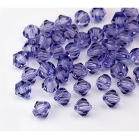 Tanzanite Czech Crystal Beads, 6mm Faceted Bicone, Pack of 20