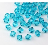 Aquamarine Zircon Czech Crystal Beads, 6mm Faceted Bicone
