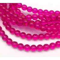 Fuchsia Czech Glass Beads, 6mm Round