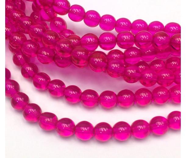 Fuchsia Czech Glass Beads, 6mm Round