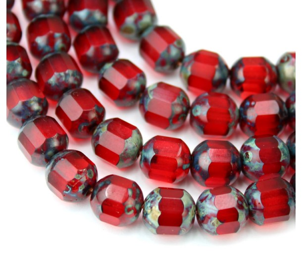 Siam Red Picasso Czech Glass Beads, 8mm Renaissance, Pack of 25