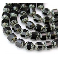 Jet Picasso Czech Glass Beads, 10mm Renaissance