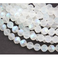 Matte Crystal AB Czech Glass Beads, 8mm Rosebud