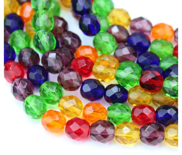 Bright Mix Czech Glass Beads, 8mm Faceted Round
