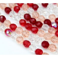 Valentine Mix Czech Glass Beads, 8mm Faceted Round