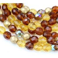 Topaz Mix Czech Glass Beads, 8mm Faceted Round