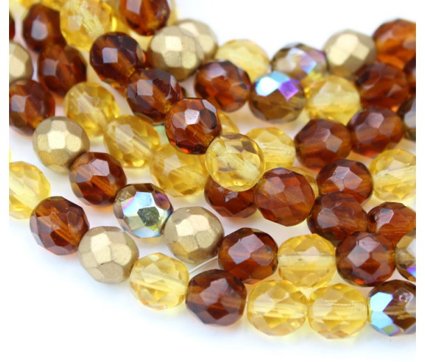 Topaz Mix Czech Glass Beads, 8mm Faceted Round