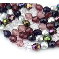 Sugar Plum Mix Czech Glass Beads, 8mm Faceted Round