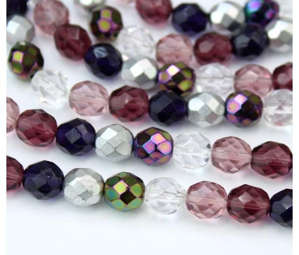 Sugar Plum Mix Czech Glass Beads, 8mm Faceted Round