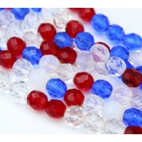 July 4th Mix Czech Glass Beads, 8mm Faceted Round