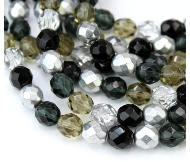Dusk Mix Czech Glass Beads, 8mm Faceted Round