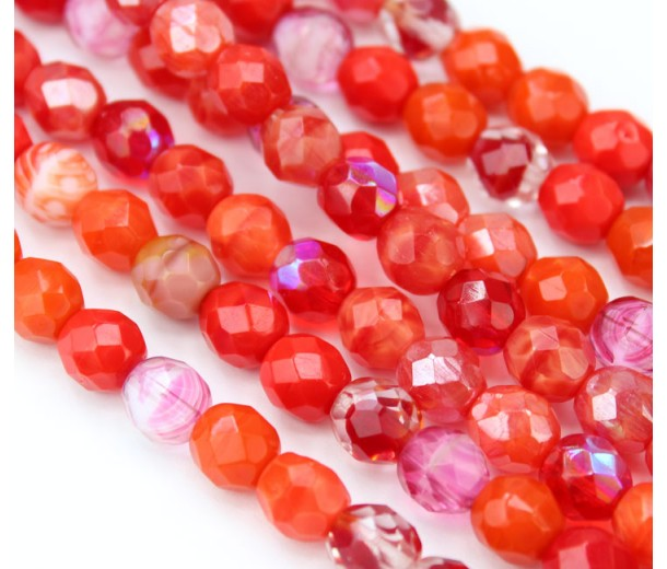 Coral Mix Czech Glass Beads, 8mm Faceted Round