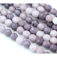 Wisteria Mix Czech Glass Beads, 8mm Faceted Round