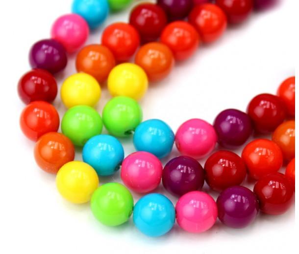 Rainbow Mix Czech Glass Beads, 8mm Round