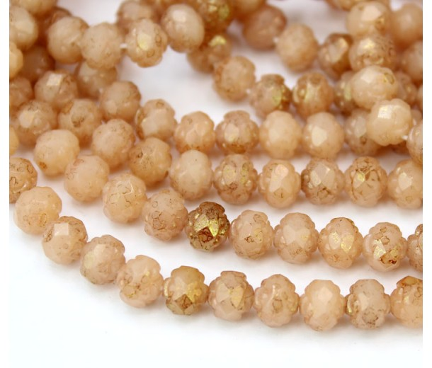 Opaque Topaz Pink Luster Czech Glass Beads, 6mm Rosebud