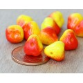 Opaque Yellow and Red Czech Glass Beads, 10mm Pear, Pack of 12