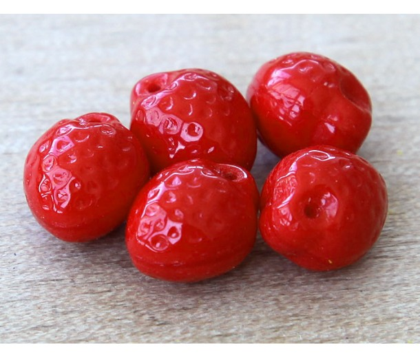 Flame Red Czech Glass Beads, 11mm Strawberry, Pack of 12