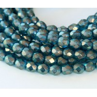 Azurite Halo Czech Glass Beads, 6mm Faceted Round