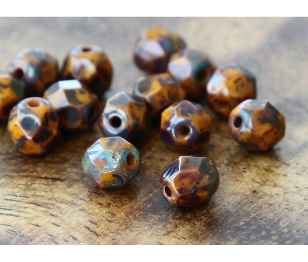Opaque Yellow Picasso Czech Glass Beads, 6mm Faceted Round