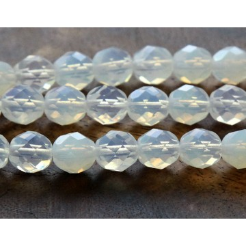 Milky White Czech Glass Beads, 8mm Faceted Round