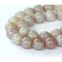 Milky Topaz Pink Luster Czech Glass Beads, 10mm Round