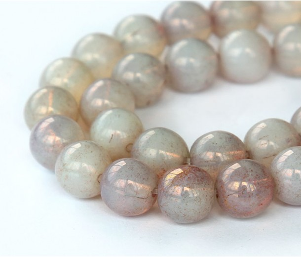 Milky Topaz Pink Luster Czech Glass Beads, 10mm Round, Pack of 25