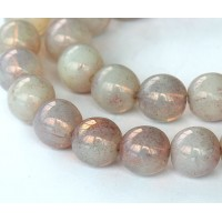 Milky Topaz Pink Luster Czech Glass Beads, 8mm Round
