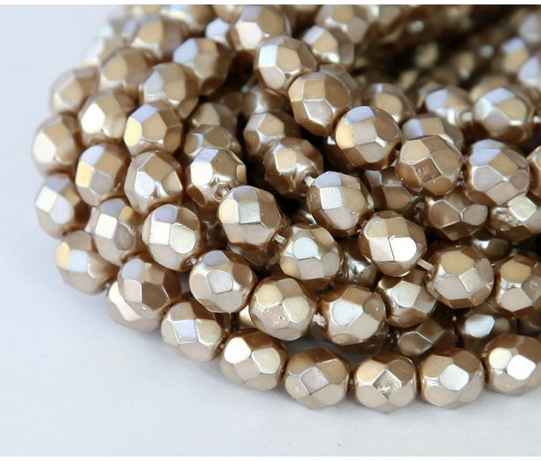 Cocoa Pearl Czech Glass Beads, 8mm Faceted Round, Pack of 25