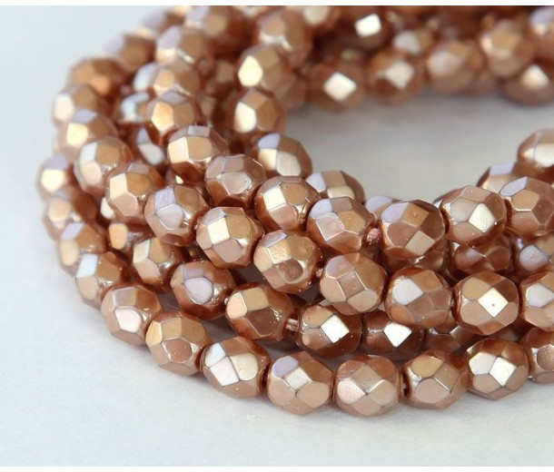 Mauve Pearl Czech Glass Beads, 6mm Faceted Round